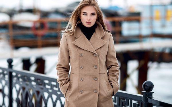 Women Model Models Coat Blue Eyes HD Wallpaper | Background Image