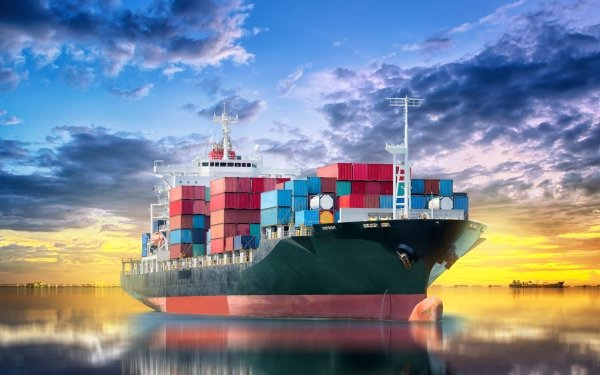 Vehicles Container Ship Ship Reflection Container HD Wallpaper | Background Image