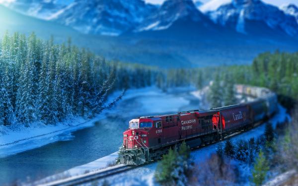 Vehicles Train Locomotive Tilt Shift HD Wallpaper | Background Image