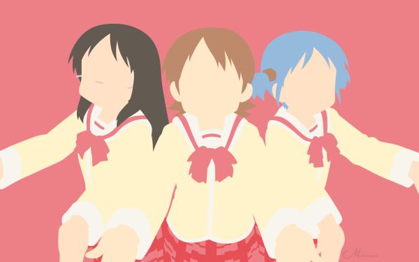 Anime Nichijō Yuuko Aioi Mio Naganohara Mai Minakami Vector Minimalist HD Wallpaper | Background Image
