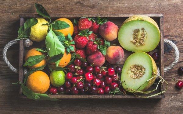 Food Fruit Fruits Still Life Cherry Strawberry Peach Mandarin Melon HD Wallpaper | Background Image