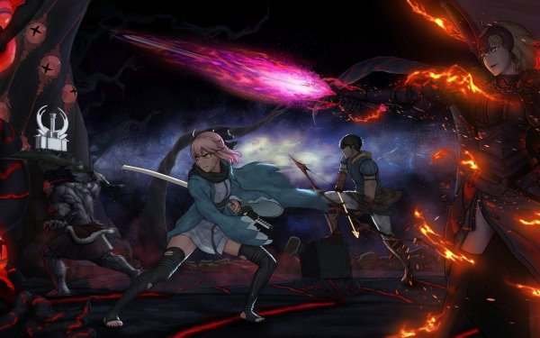 Anime Fate/Grand Order Fate Series Jeanne d'Arc Alter Avenger Short Hair Yellow Eyes Woman Warrior Sword Okita Souji Berserker Arash Archer Saber Flame HD Wallpaper | Background Image