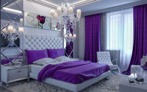 Construction Humaine Pièce Bed Chandelier Bedroom Meubles Fond d'écran HD | Image