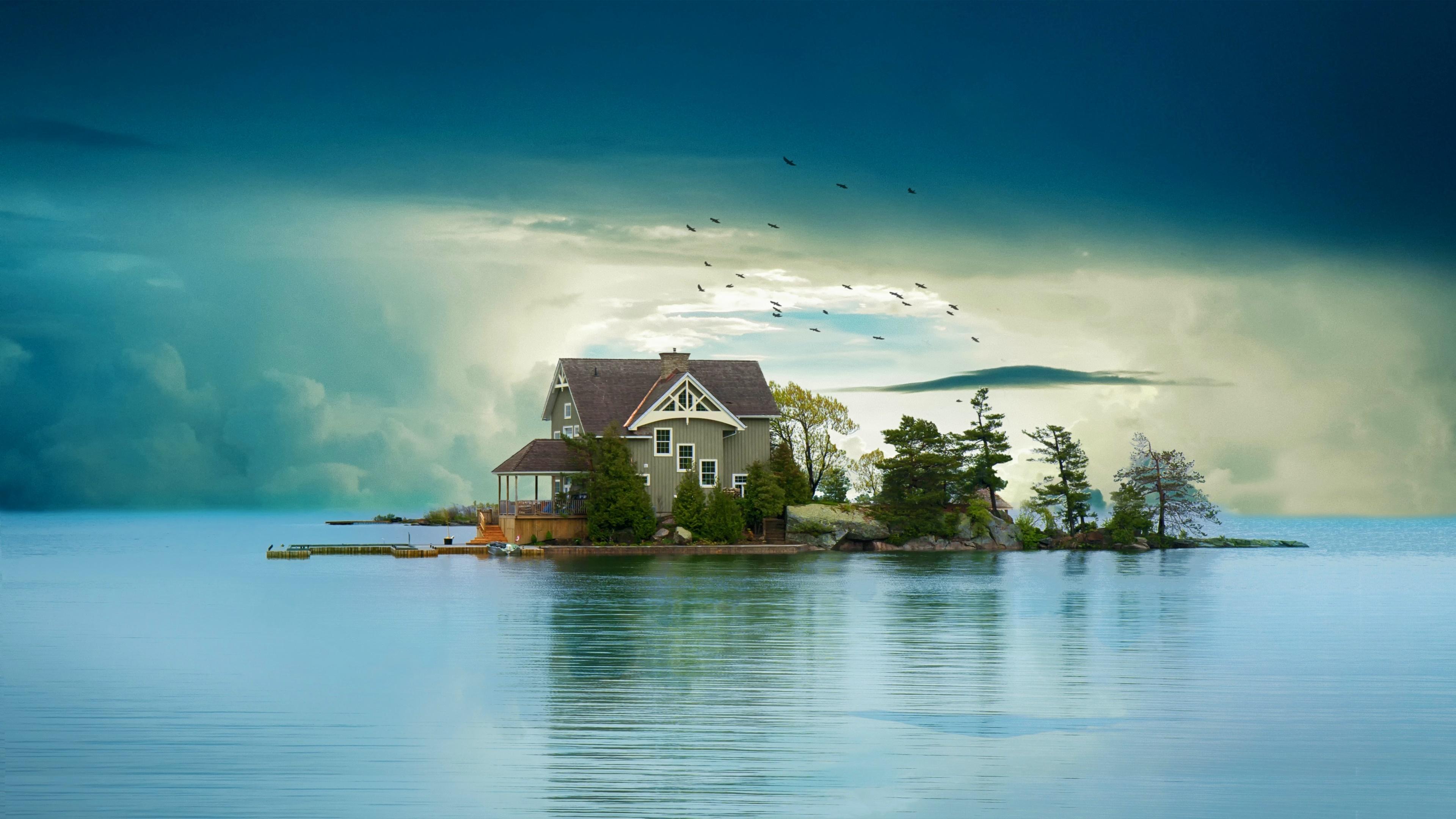 House On Small Island 4k Ultra Fondo De Pantalla Hd Fondo