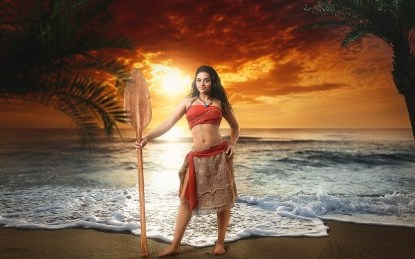 Women Cosplay Sea Sunset Model Black Hair Moana Waialiki HD Wallpaper | Background Image