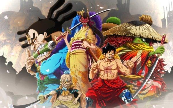 Anime One Piece Hyogoro Kawamatsu Kiku Raizo Monkey D. Luffy HD Wallpaper | Background Image