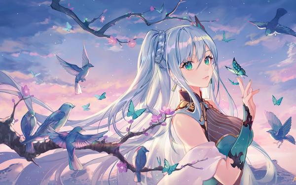 Anime Original Blue Hair Long Hair Green Eyes Butterfly Bird Cherry Blossom HD Wallpaper   Background Image