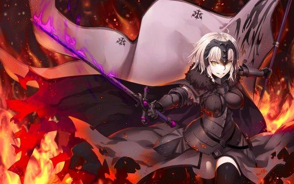 Anime Fate/Grand Order Fate Series Avenger Jeanne d'Arc Alter Short Hair Yellow Eyes Banner Sword Fire HD Wallpaper | Background Image