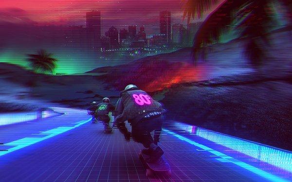 Artistic Retro Skateboarding HD Wallpaper   Background Image