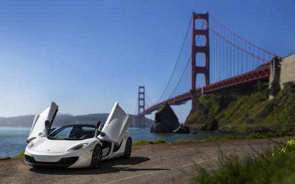 Vehicles McLaren MP4-12C McLaren Car Sport Car Supercar White Car Golden Gate HD Wallpaper | Background Image