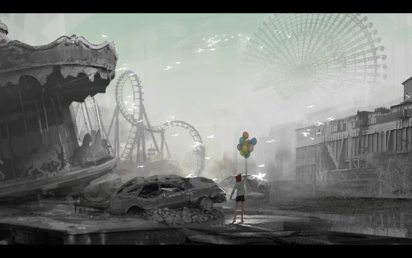 Anime Original Post Apocalyptic Roller Coaster Amusement Park HD Wallpaper | Background Image