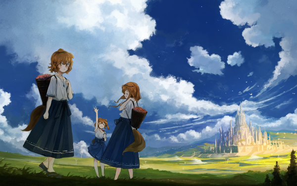 Anime Original Animal Ears Brown Hair Brown Eyes Landscape Castle HD Wallpaper   Background Image