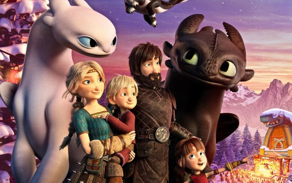 Movie How to Train Your Dragon: Homecoming How to Train Your Dragon Toothless Hiccup Astrid Night Fury Dragon HD Wallpaper | Background Image