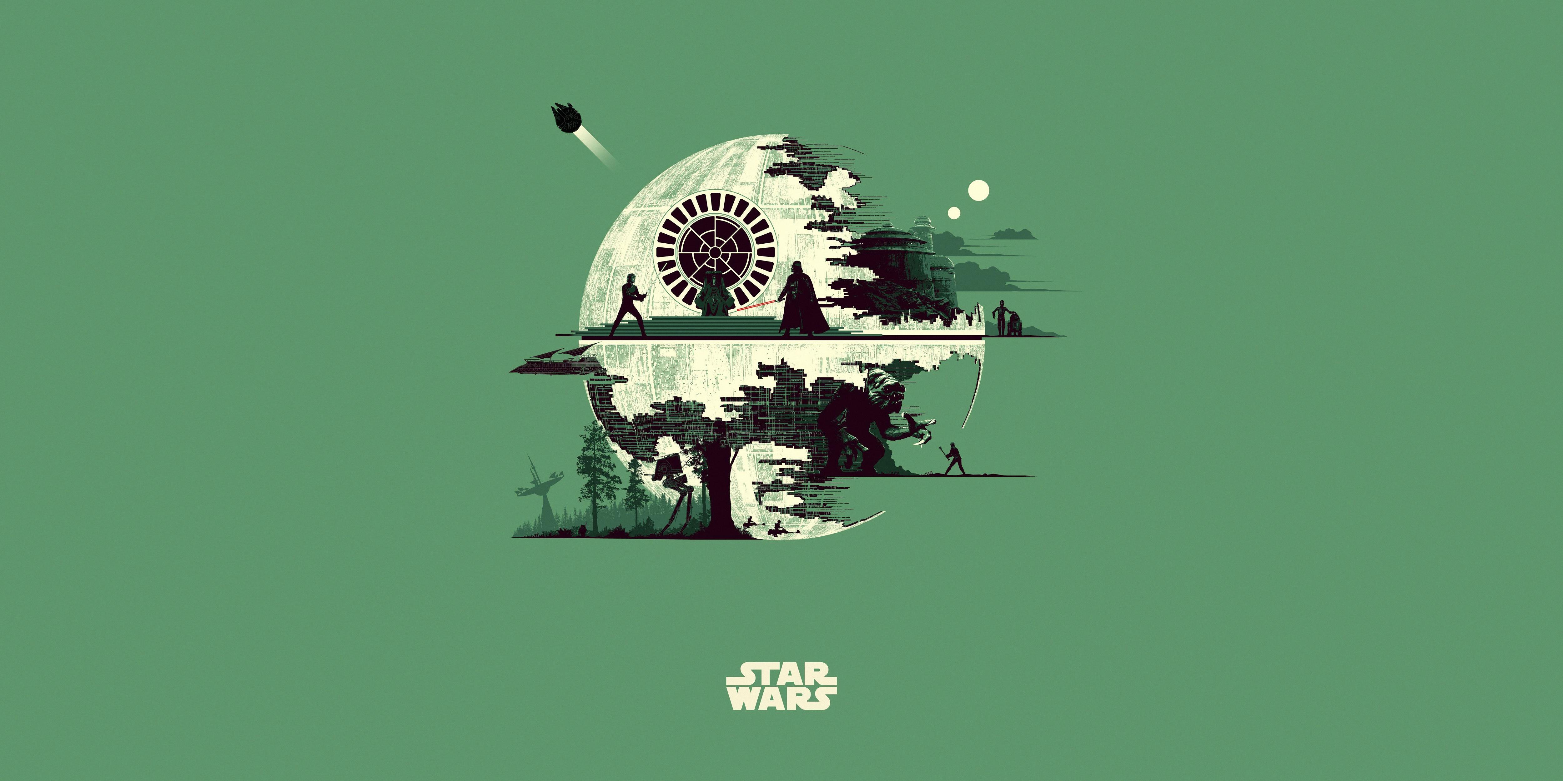 Minimalist Luke Skywalker 4k Ultra Hd Wallpaper Background Image 5000x2500