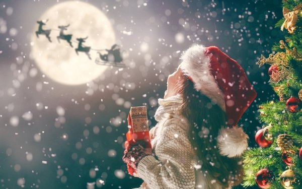 Holiday Christmas Child Santa Reindeer Sled Gift Moon HD Wallpaper   Background Image