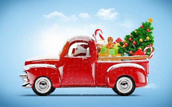 Holiday Christmas Christmas Tree Van Gift HD Wallpaper | Background Image