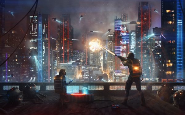 Sci Fi City Night Futuristic Building HD Wallpaper   Background Image