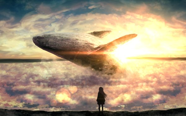 Anime Original Whale Cloud Sunset HD Wallpaper | Background Image