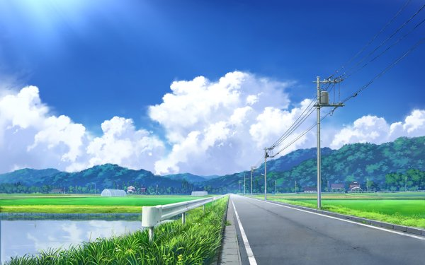 Anime Original Road Countryside HD Wallpaper   Background Image