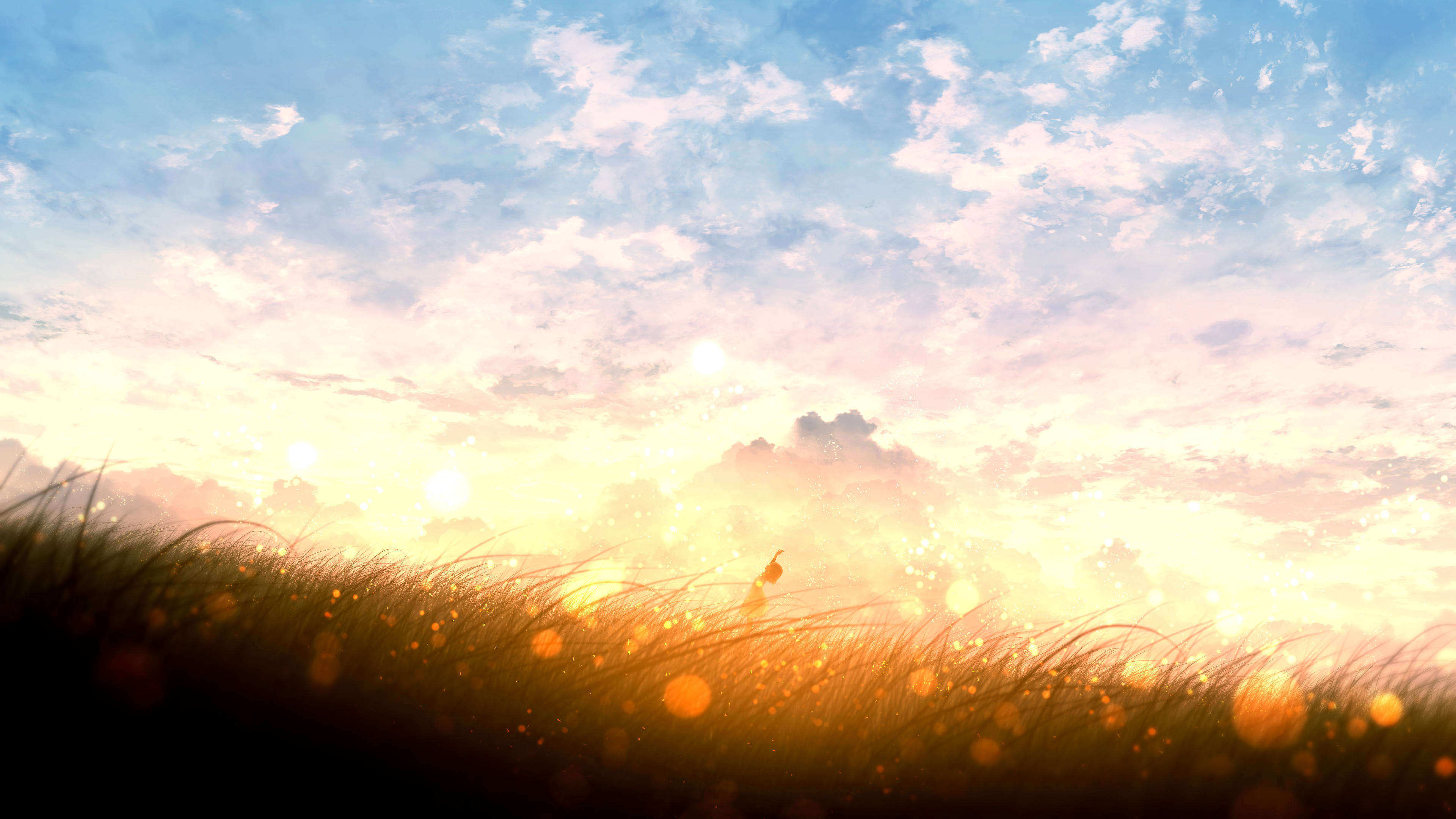 Anime Girl Looking Up At The Sky In A Glowing Golden Field 4k