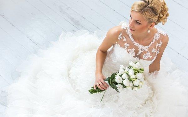 Women Bride Woman Model Bouquet White Flower Blonde White Dress Wedding Dress HD Wallpaper | Background Image