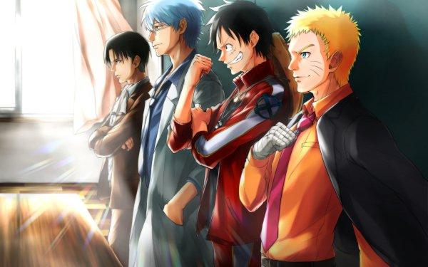 Anime Crossover Naruto Uzumaki Naruto One Piece Monkey D. Luffy Levi Ackerman Ataque a los titanes Gintoki Sakata Gintama Fondo de pantalla HD | Fondo de Escritorio