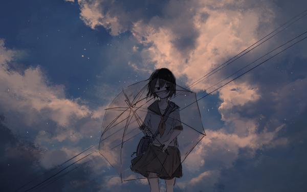 Anime Original Umbrella School Uniform HD Wallpaper   Background Image