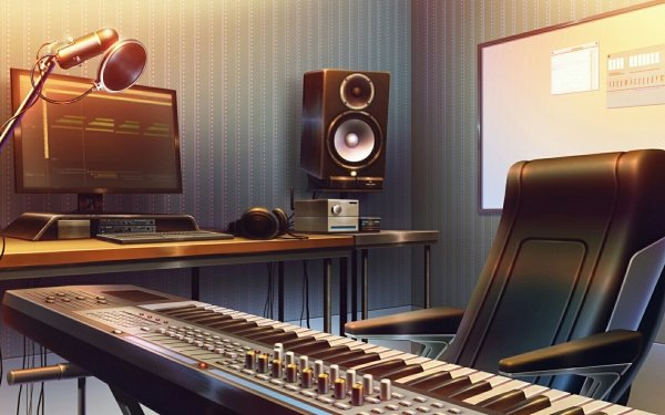 Anime Original Piano Speakers Computer Microphone Chair HD Wallpaper | Background Image