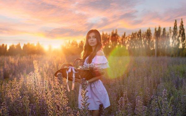 Women Model Models Woman Brunette Dress Basket Flower Depth Of Field Sunrise HD Wallpaper | Background Image