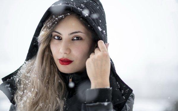 Women Model Models Brunette Hood Lipstick Winter Brown Eyes HD Wallpaper | Background Image