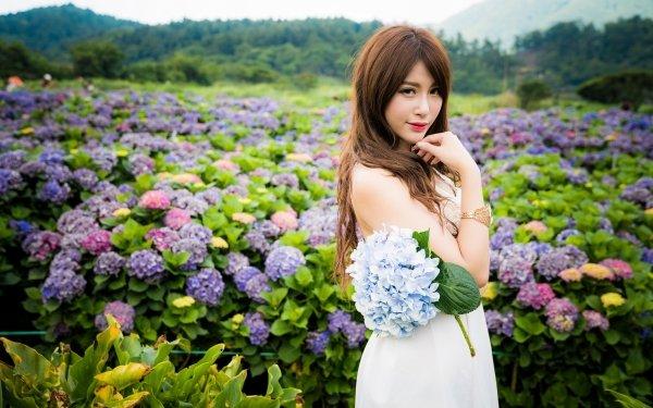 Women Asian Model Hydrangea Flower White Dress Brunette Long Hair Lipstick Depth Of Field HD Wallpaper | Background Image
