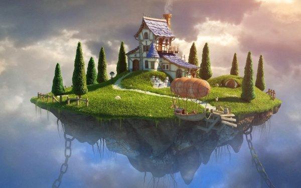Fantaisie Maison Herbe Arbre Nuage Fond d'écran HD   Arrière-Plan