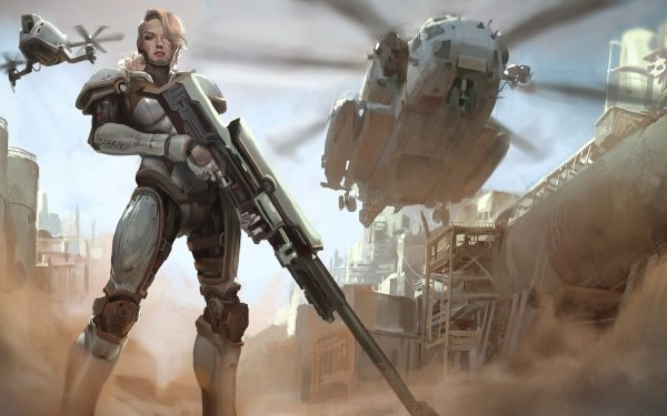 Sci Fi Women Warrior Woman Warrior Blonde Weapon Futuristic Miltary Helicopter HD Wallpaper | Background Image
