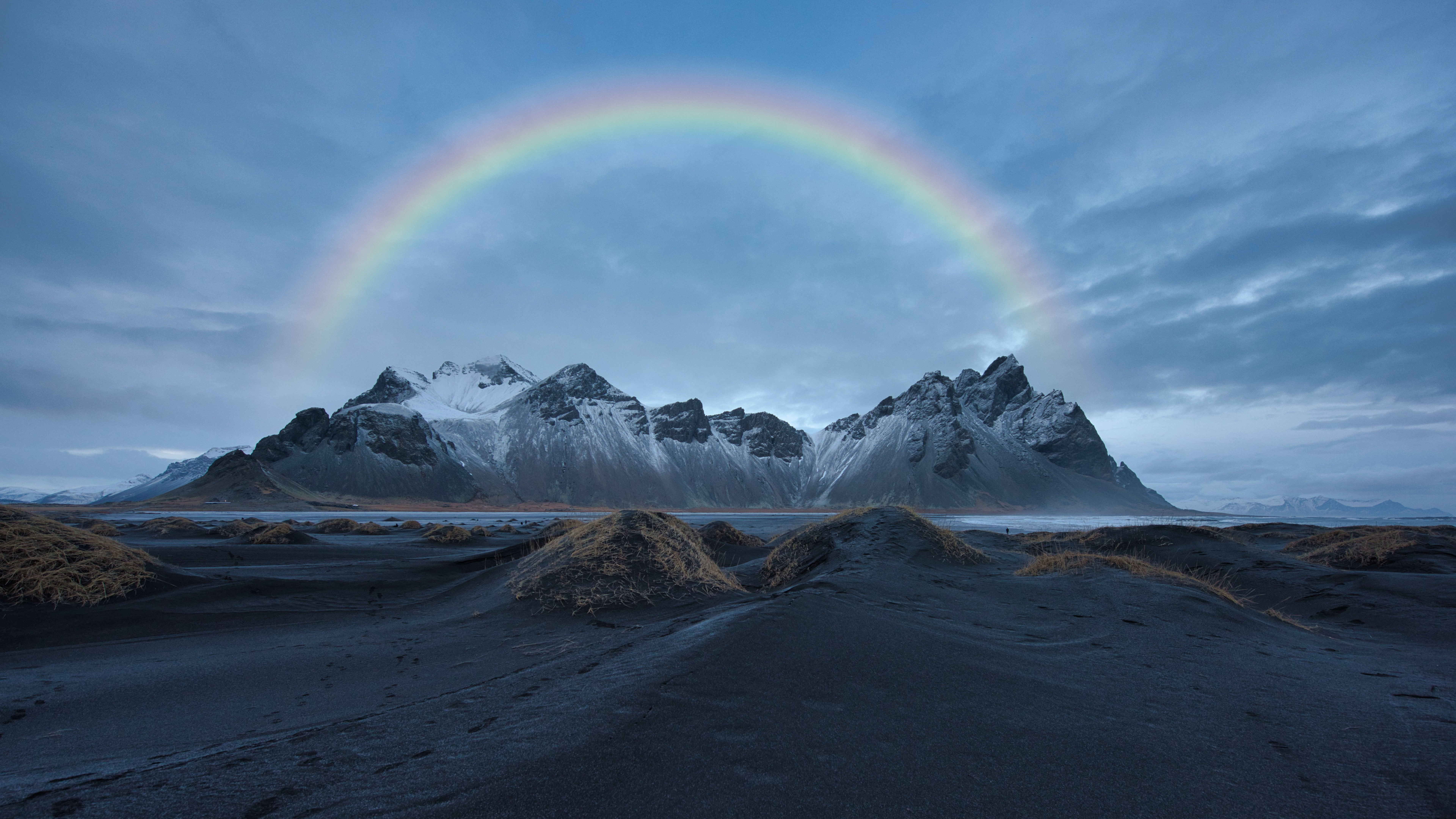 Rainbow Over Snow Covered Mountain 8k Ultra Hd Wallpaper Background Image 7680x4320 Id 1081214 Wallpaper Abyss