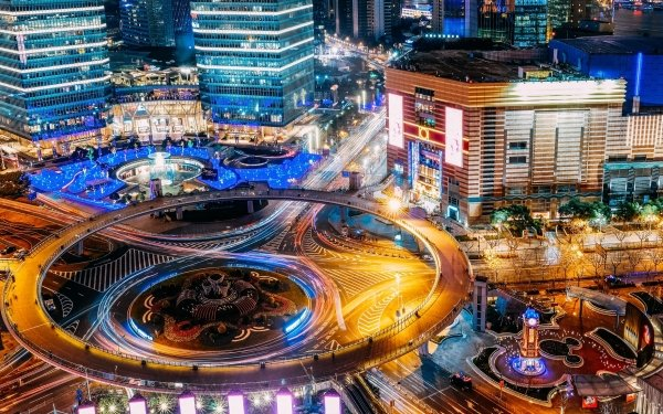 Photography Time-lapse Light Building Night Highway Shanghai China HD Wallpaper | Background Image