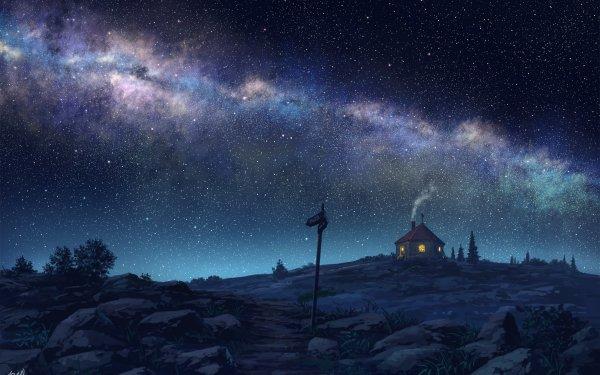 Anime Original Night Sky Starry Sky Hut House HD Wallpaper | Background Image