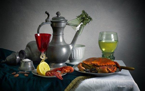 Food Still Life Wine Lemon Crab HD Wallpaper | Background Image