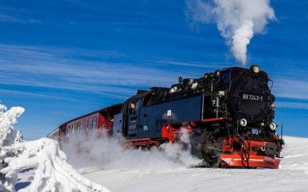 Vehicles Locomotive Winter Snow Train HD Wallpaper   Background Image