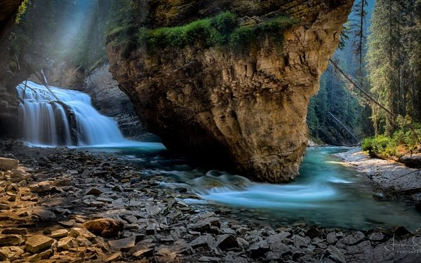 Earth Banff National Park National Park Rock Waterfall River Johnston Canyon Canada HD Wallpaper   Background Image
