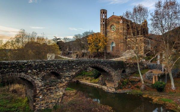 Religious Church Churches Bridge River Spain Catalonia HD Wallpaper | Background Image