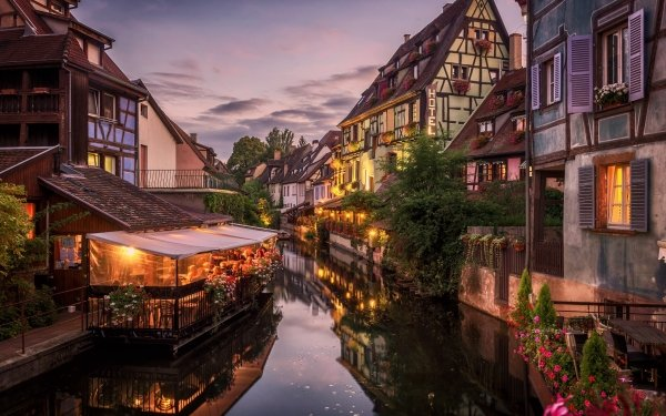 Man Made Colmar Towns France Evening Canal Cafe HD Wallpaper | Background Image