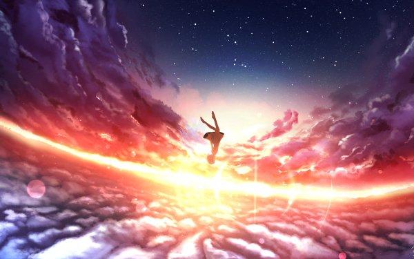 Anime Original Ciel Coucher de Soleil Fille Nuage Starry Sky Falling Fond d'écran HD | Arrière-Plan