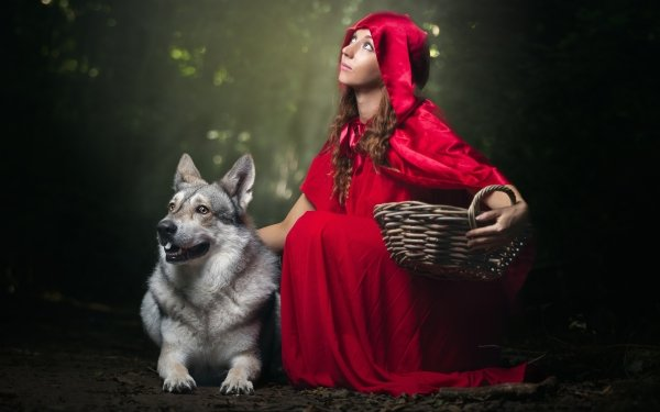 Women Cosplay Dog Hood Cloak Red Riding Hood HD Wallpaper | Background Image