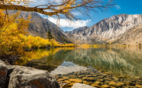 Earth Lake Lakes Fall Mountain Stone HD Wallpaper   Background Image