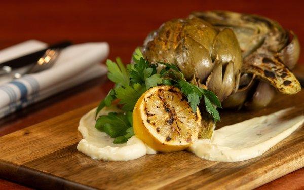Food Meal Lemon Butter Artichoke HD Wallpaper | Background Image