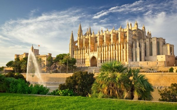 Religious Cathedral Cathedrals Palm Tree Fountain Spain Mallorca HD Wallpaper | Background Image
