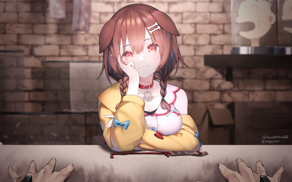 Anime Virtual Youtuber Hololive Brown Hair Braid Inugami Korone HD Wallpaper | Background Image