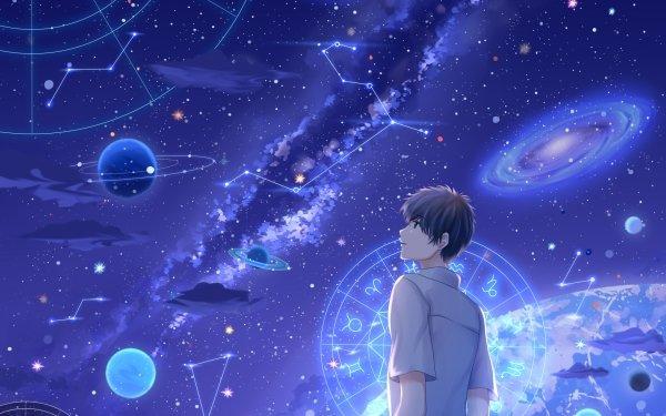 Anime Original Planet Starry Sky Milky Way Galaxy HD Wallpaper | Background Image