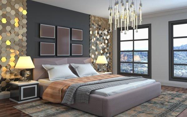Man Made Room Bedroom Furniture Bed HD Wallpaper | Background Image