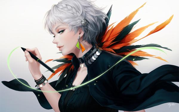 Anime Original Short Hair White Hair Green Eyes Pen Dress Feather Braid HD Wallpaper | Background Image